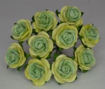 1.5cm 2 tone GREEN Mulberry Paper Roses